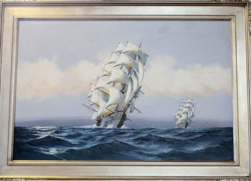 LARGE OIL ON CANVAS SQUARE RIGGERS TALL SHIPS