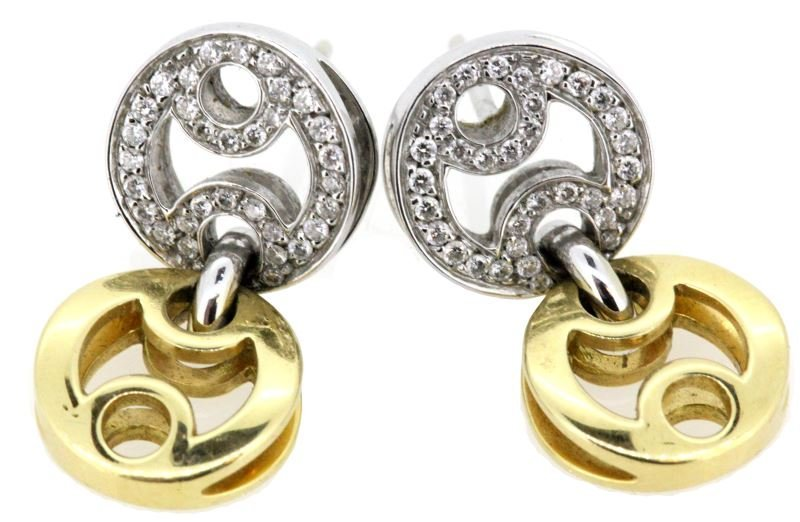LADIES 18KT WHT/YEL GOLD ROBERTO COIN DIA EARRINGS