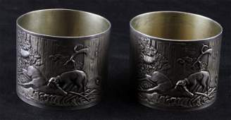 ANTIQUE RUSSIAN SILVER HUNTING NAPKIN RINGS MOSCOW
