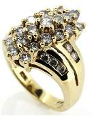LADIES 10KT YELLOW GOLD DIAMOND CLUSTER RING 2CTW