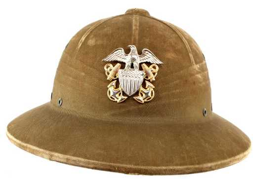 3bc51ad676 WWII U.S. NAVY TROPICAL PRESSED PITH HELMET. placeholder