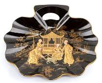 CHINESE BLACK LACQUER PAPIER MACHE TRAY