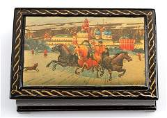 VINTAGE RUSSIAN LACQUER BOX SIGNED BY PEDOCKUHO