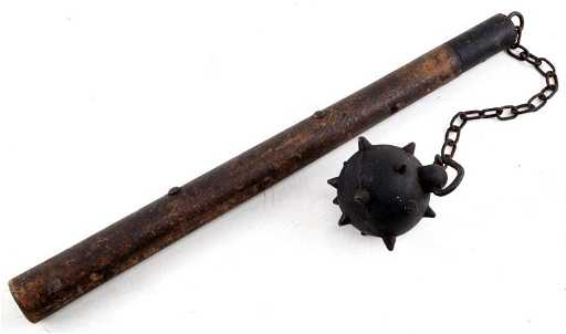 antique flail mace and chain iron weapon