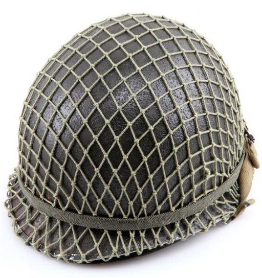 WWII M1 HELMET WITH LINER & FISHNET HELMET COVER