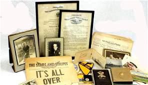 WWII US MILITARY MEMORABILIA PHOTO CERT MIXED LOT