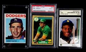BASEBALL CARD LOT OF 3 GRIFFEY KOUFAX CANSECO