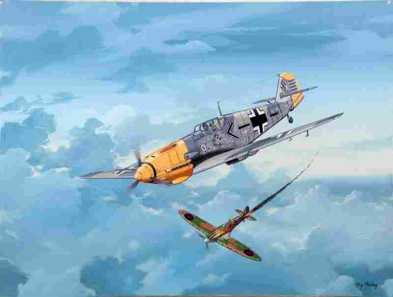 ADOLF GALLAND ME109E-4 PAINTING BY RAY WADDEY
