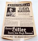 WWII GERMAN HITLER POSTER PROMOTING MEIN KAMPF