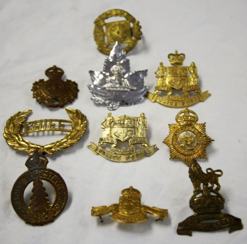 COLLECTION OF 10 CANADA POLICE CAP BADGES VARIETY