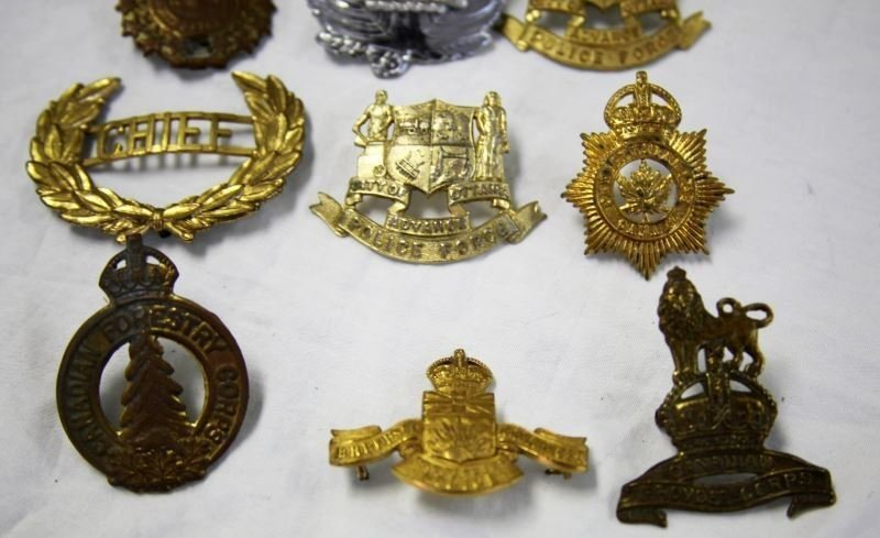 COLLECTION OF 10 CANADA POLICE CAP BADGES VARIETY - 2