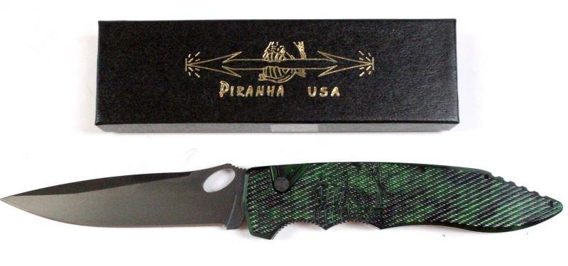 PIRANHA PREDATOR GREEN AUTOMATIC KNIFE