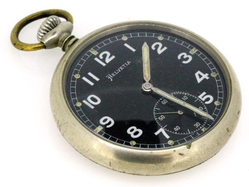 WWII GERMAN HELVETIA ENGRAVED SS POCKET WATCH
