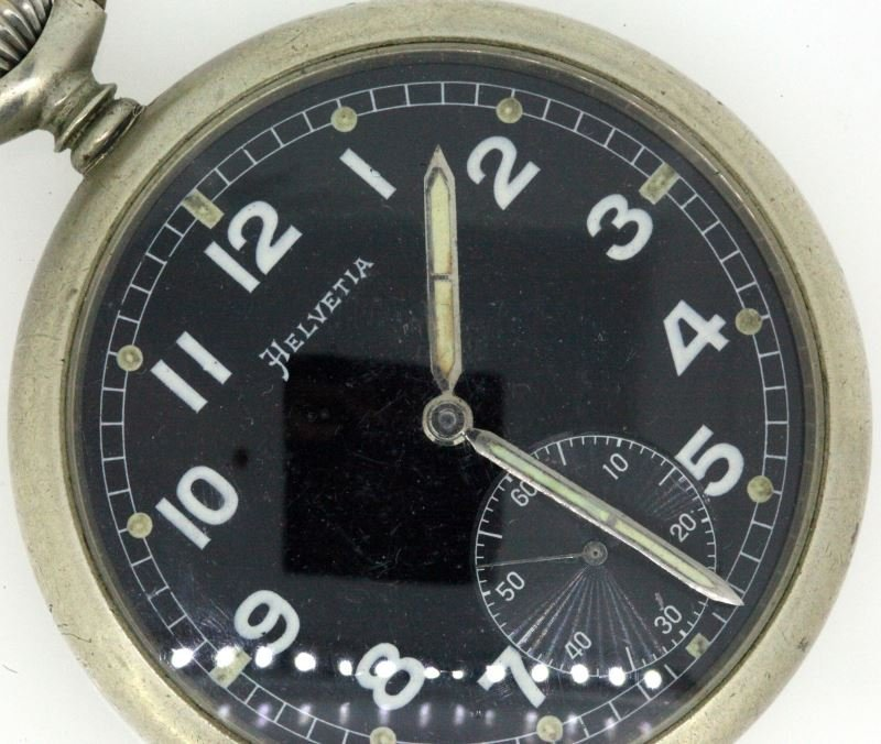 WWII GERMAN HELVETIA ENGRAVED SS POCKET WATCH - 2