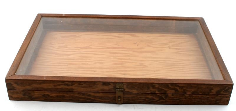 LARGE WOODEN AND GLASS DISPLAY CASE FOR ARTIFACTS