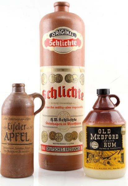 ANTIQUE GERMAN CLAY ALCOHOL BOTTLES SCHLICHTE RUM
