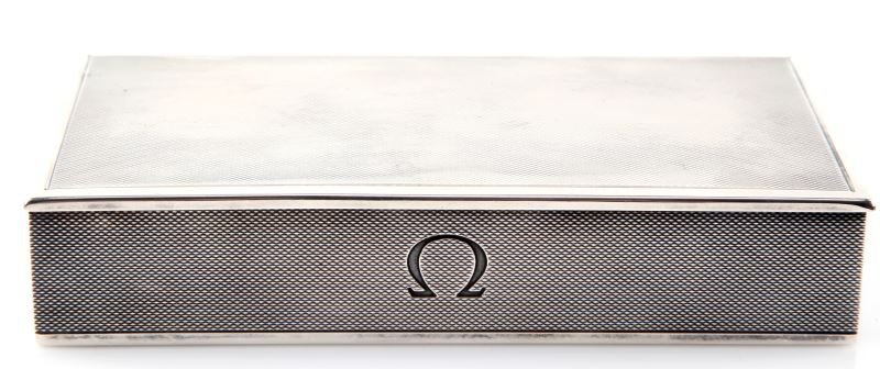 VINTAGE STERLING SILVER OMEGA  WATCH BOX SWISS