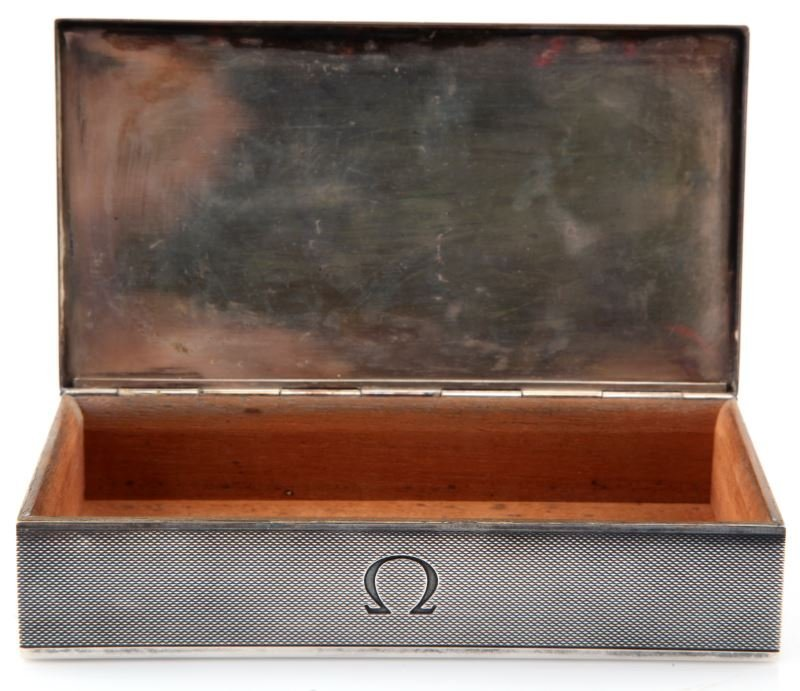 VINTAGE STERLING SILVER OMEGA  WATCH BOX SWISS - 2