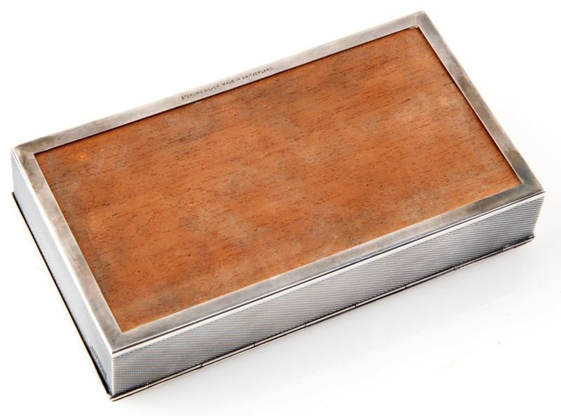 VINTAGE STERLING SILVER OMEGA  WATCH BOX SWISS - 3