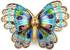 VINTAGE 800 SILVER GILDED ENAMELED BUTTERFLY PIN