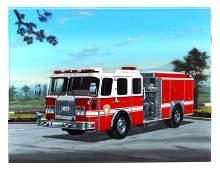 3 LAYERED FIRE TRUCK PAINTING ORIGINAL RAY WADDEY