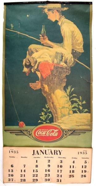 1935 COCA-COLA CALENDAR W BOY FISHING BY ROCKWELL