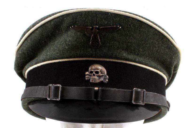 WWII GERMAN THIRD REICH SS VISOR HAT W/ CHINSTRAP