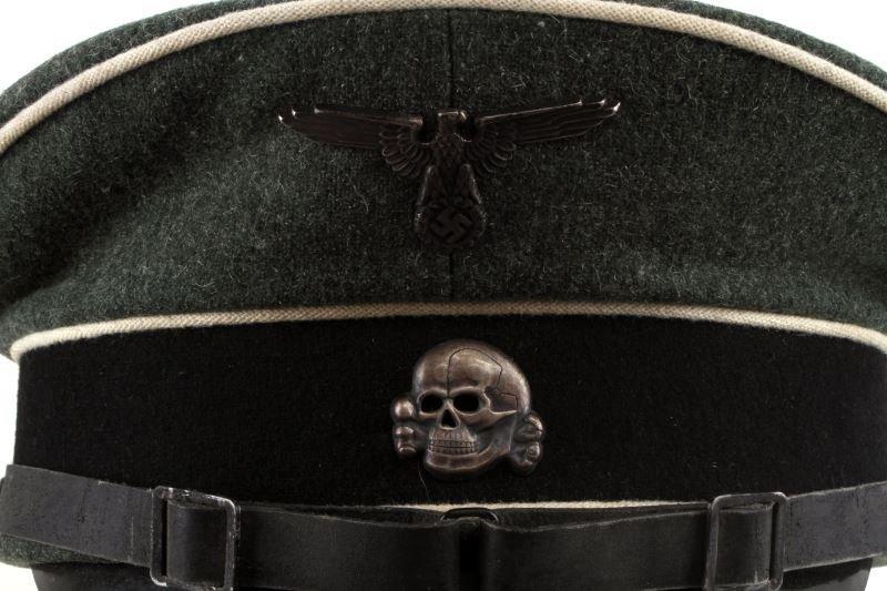 WWII GERMAN THIRD REICH SS VISOR HAT W/ CHINSTRAP - 2