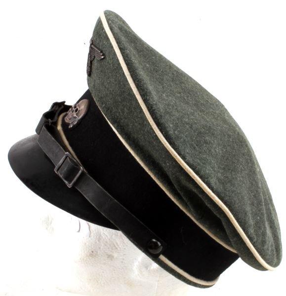 WWII GERMAN THIRD REICH SS VISOR HAT W/ CHINSTRAP - 3