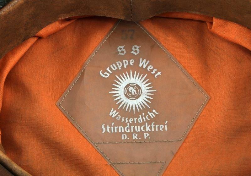 WWII GERMAN THIRD REICH SS VISOR HAT W/ CHINSTRAP - 4