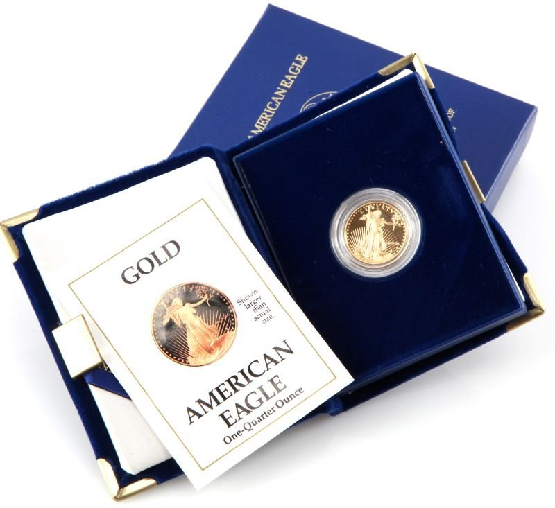 1990 GOLD AMERICAN EAGLE 1/4 OZ PROOF COIN