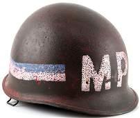 LATE WWII ERA US M1 MILITARY POLICE HELMET SHELL