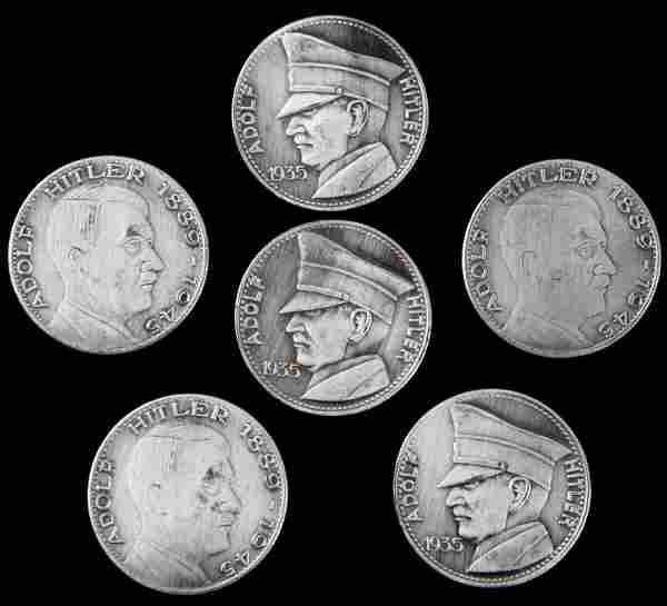 6 WWII THIRD REICH GERMAN COINS W HITLER'S IMAGE