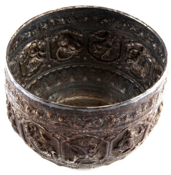 DUPONT BURMESE OR THAI REPOUSSE SILVER PLATED BOWL - 3
