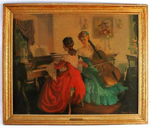 Frederic Mizen Litho Print On Board Titled Recital