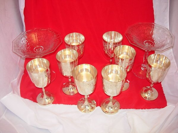 11007: CUT GLASS COMPOTE PAIR SILVER PLATE GOBLET LOT