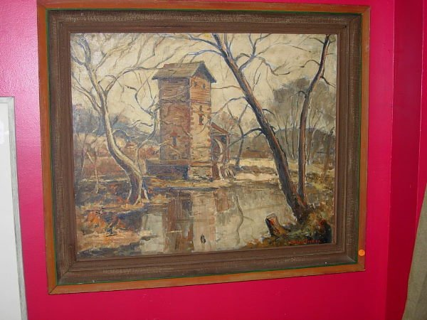 11206: WILLIAM FISHER OIL PAINTING GRIST OR WATER MILL