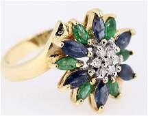 LADIES 14KT YG RING W EMERALD  SAPPHIRE  DIAMOND