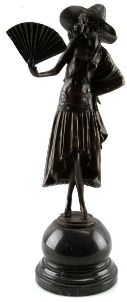 PAUL PHILIPPE BRONZE LADY WITH A FAN 18 INCHES