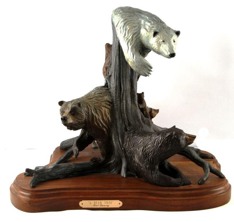 KARL LANSING 1999 SIGNED BEAR FAMILY BRONZE