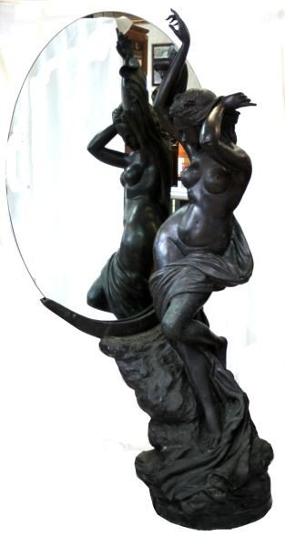 63 INCH NUDE FEMALE BRONZE WITH MIRROR