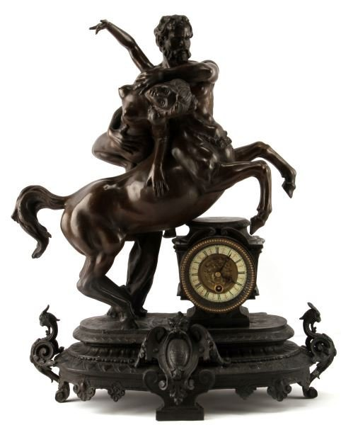 """VTG BRONZE """"DEIANEIRA  ABDUCTED BY NESSUS"""" CLOCK"""