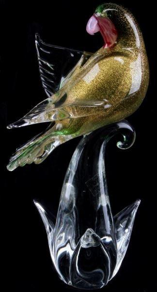 "MURANO GLASS LOVEBIRD FIGURINE 10"" TALL LIMITED ED"