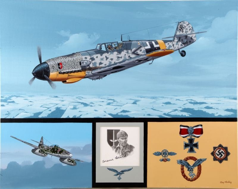 "GERMAN WWII ACE ""MACKY"" STEINHAFF SIGNED ARTWORK"