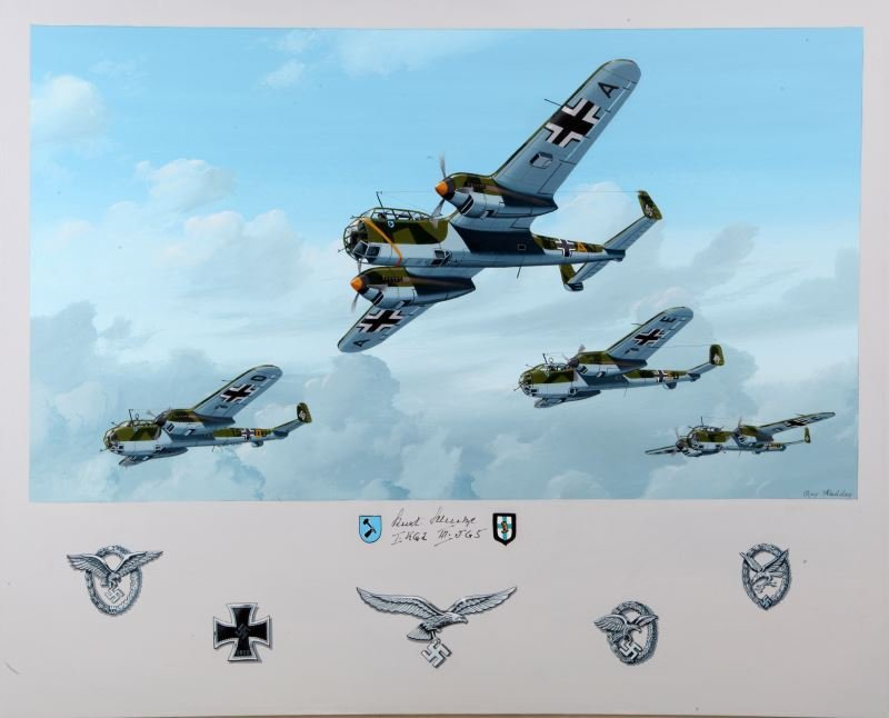 EAGLE-DAY BLITZ PAINTING SIGNED BY LUFTWAFFE PILOT