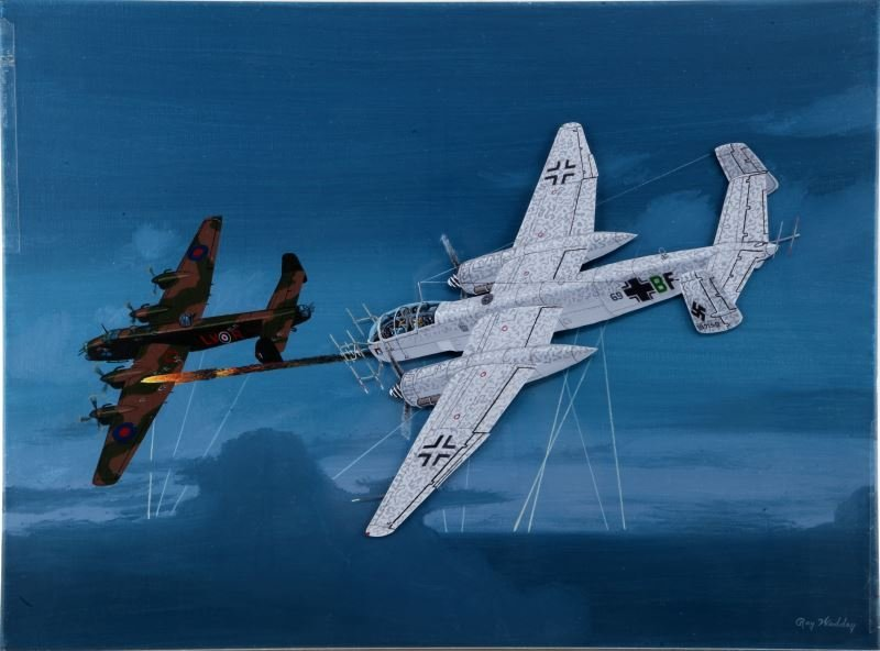 GERMAN HE-219 VS HALIFAX RAY WADDEY ORIGINAL OIL