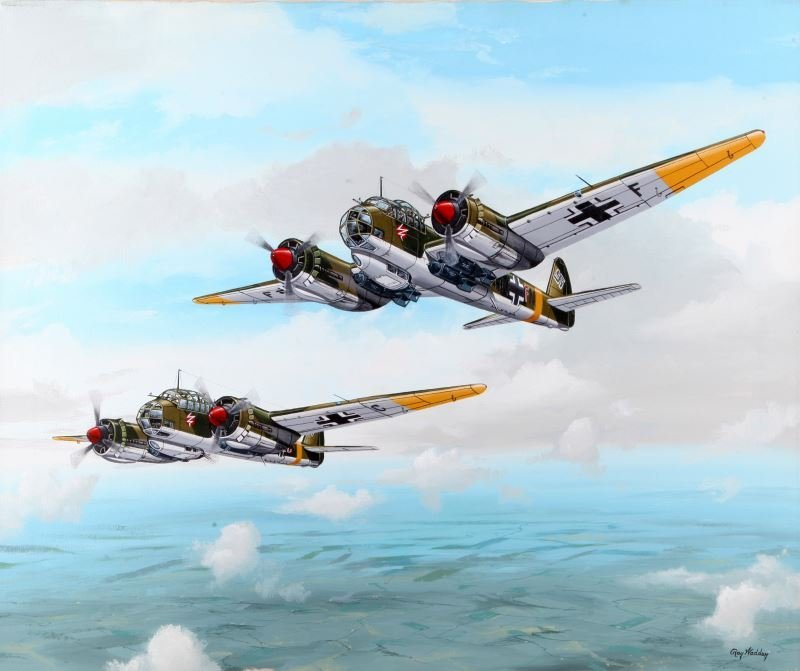 JU-88A-4 PAINTING INCLUDING PLANE PART R. WADDEY