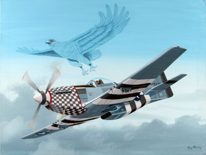 P-51D MUSTANG WITH AN AMERICAN EAGLE BY RAY WADDEY