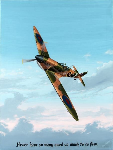 SUPERMARINE SPITFIRE PAINTING BY RAY WADDEY
