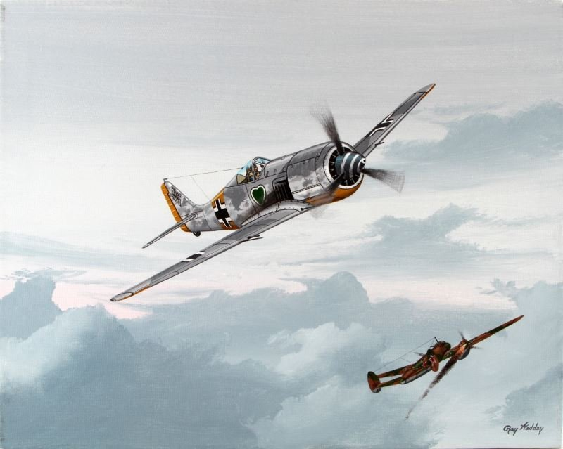 FOCKE-WULF FW-190 DOWNS A PE-2, 1942 BY RAY WADDEY
